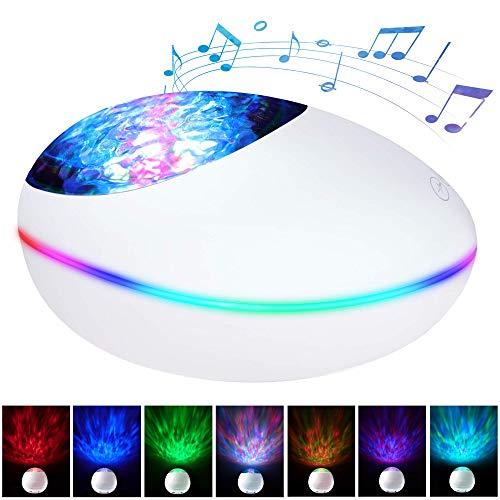 Ocean Wave Projector, Lucky Stone Ocean Lights with 12 LED Adjustable Lightness & 7 Lighting Modes, Support TF Card Bluetooth Music Speaker Bedside Night Light for Baby Kids Adult Bedroom Living Room (Christmas Lucky Lights Seven)