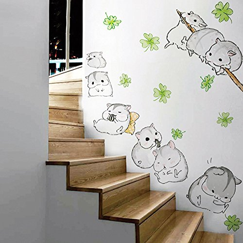 (WOCACHI Wall Stickers Decals Cute Fun Hamsters Playing Wall Sticker for Children Kid Bedroom Lovely Pet Decal Art Mural Wallpaper Peel & Stick Removable Room Decoration Nursery Decor)