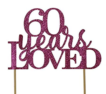 Black /& Gold Party Decor Birthday 6in wide ,1 PC 60th Anniversary All About Details CAT60YL 60 Years Loved Cake Glitter Topper 8in tall