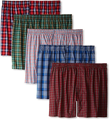 Hanes 5-Pack Men's Assorted Plaid Boxers Boxer Shorts Casual Tagless Underwear-Large