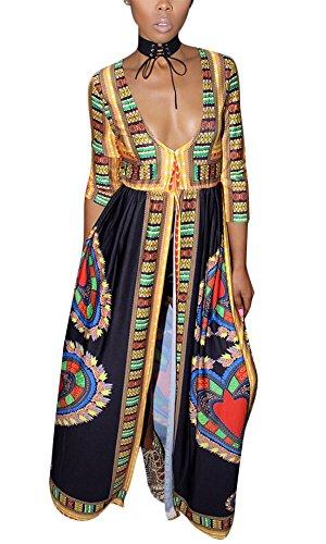 Print African Clothing - Aro Lora Women's African Print Deep V Neck 3/4 Sleeve High Slit Dashiki Long Maxi Dress X-Large Black