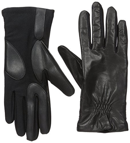 (Isotoner Women's Classic Stretch Leather Touchscreen Cold Weather Gloves, Fleece Lining )