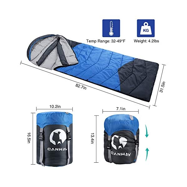 CANWAY Sleeping Bag with Compression Sack, Lightweight and Waterproof for Warm & Cold Weather, Comfort for 4 Seasons Camping/Traveling/Hiking/Backpacking, Adults & Kids 4