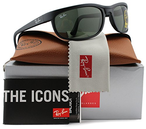 Ray-Ban RB2027 Predator 2 Sunglasses Matte Black w/Crystal Green (W1847) 2027 W1847 62mm - Ray 2 Ban