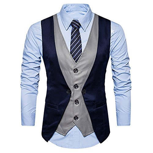 Gutori Men's Business Suit Vest Layered Formal Dress Waistcoat for Wedding Party Dinner Navy ()
