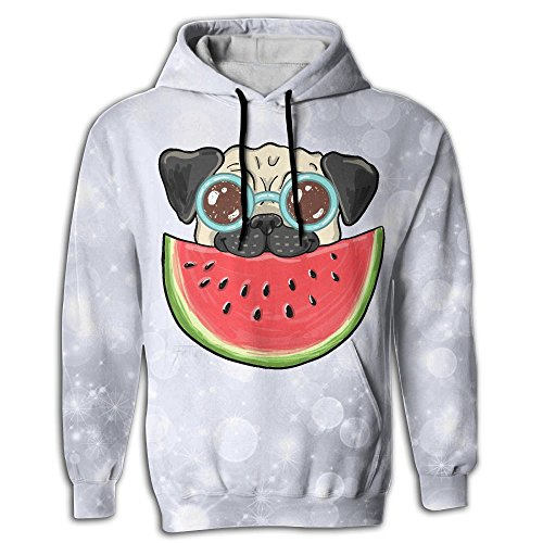 Frouren Pug Dog In Sunglasses Eating Watermelon Men Sweater Shirt - Teenage Guys Sunglasses Cool For