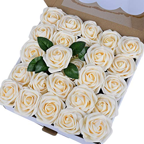 Breeze Talk Artificial Flowers Roses 50pcs Cream Realistic Fake Roses w/Stem for DIY Wedding Bouquets Centerpieces Arrangements Party Baby Shower Home Decorations (50pcs Cream)