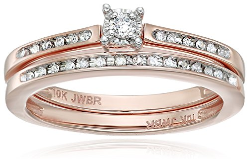 Women's 10K Rose Gold Diamond Bridal Set  Round-cut Ring, Wh