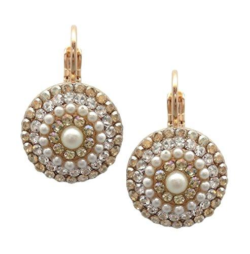 (Mariana Rose Gold Plated Swarovski Crystal Earrings Moonlight Circle 1093 Odyssey Aurora)