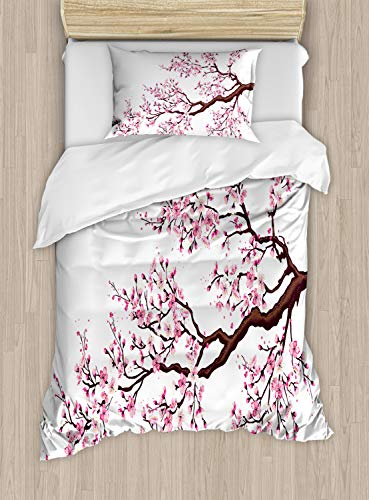 Ambesonne Japanese Duvet Cover Set Twin Size, Branch of a Flourishing Sakura Tree Flowers Cherry Blossoms Spring Theme Art, Decorative 2 Piece Bedding Set with 1 Pillow Sham, Pink Brown
