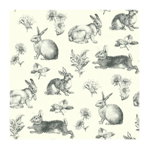 York Wallcoverings AT4263 Ashford Toiles Bunny Toile Prepasted Wallpaper, White/Black - Ultra Removable