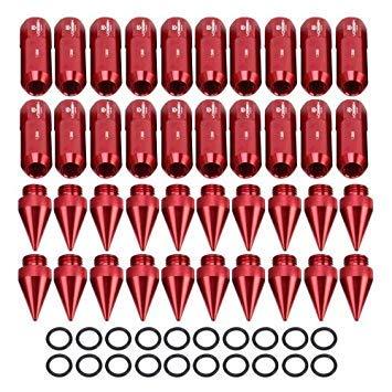 Uniqus 20 PCS Aluminum Alloy Wheel Drive Hub Adaptor Car Wheel Nut Car Parts(Red)