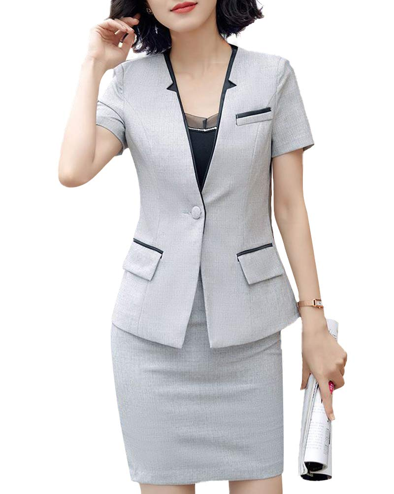 LISUEYNE Women 2 Pieces Blazer Office Lady Business Suit for Work Jacket and Skirt Single Button Women Suits