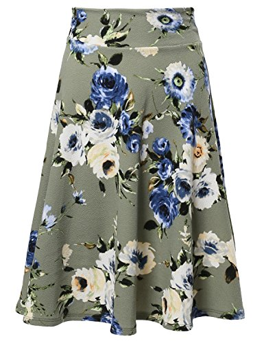 Floral Elasticized Waistband Swing A-Lined Skirt Made in USA Sage Flower S (Green Floral Skirt)