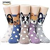 Women's Cute Dog Printed Cotton Crew Socks, Mix Color - 5 Pair Dots, US Women's Shoe Size 5-9