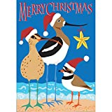 Merry Christmas Shorebirds and Beach 42 x 29 Rectangular Double Applique Large House Flag For Sale