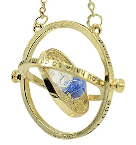 - Trending Jewels Harry Potter Time Turner Necklace, Gold Plated, Blue Sand - Rotating Hour Glass, Hermione Granger - Packed in a Box