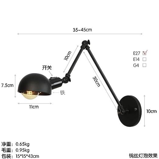 Luz de pared de brazo largo LED de doble polo de hierro con ...