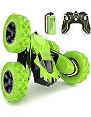 SGILE 4WD fjärrkontrollbil för 6-12 år barn, 360 ° dubbelsidig vändning RC-stuntbil födelsedagsleksak, grön