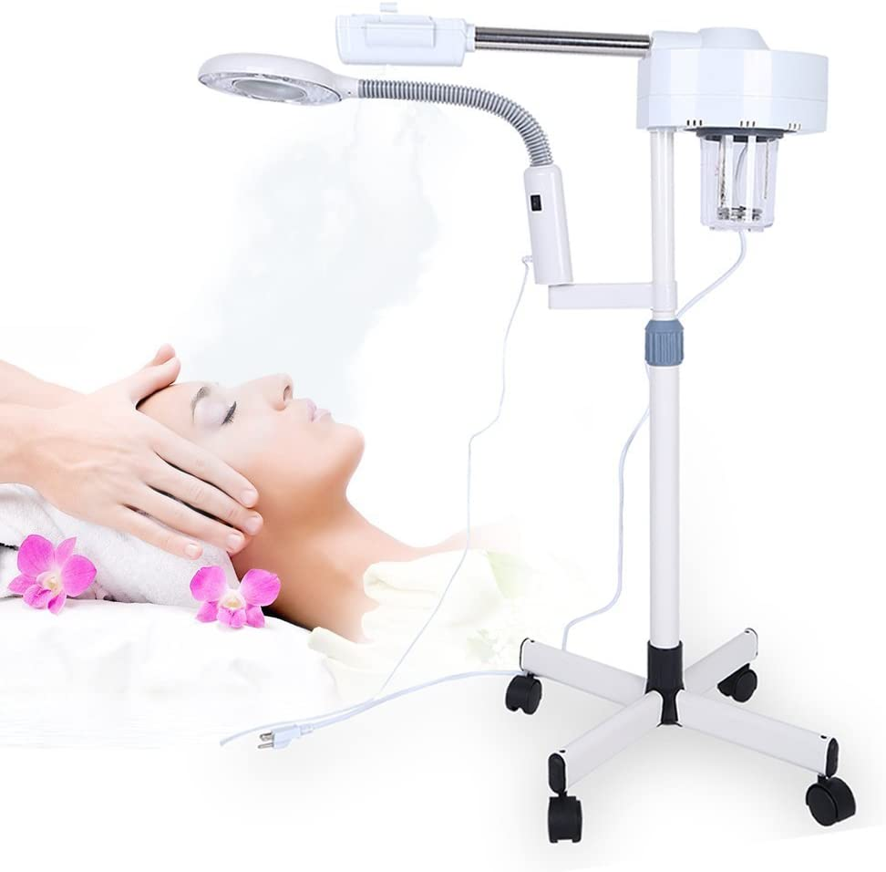 Vaporizador facial 2en1, Máquina de la lámpara de pie que magnifica LED 5X Spa multifunción humidificador profesional belleza facial limpia herramienta de cuidado de la piel