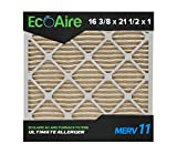 Eco-Aire 16 3/8x21 1/2x1 MERV 11, Pleated Air Filter, 16 3/8 x 21 1/2 x 1, Box of 6, Made in the USA