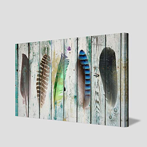 ARTLAND Giclee Canvas Prints 24x36-inch 'Feather Tales ' 1-Piece Gallery-Wrapped Abstract Painting on Canvas Wall Art Set]()