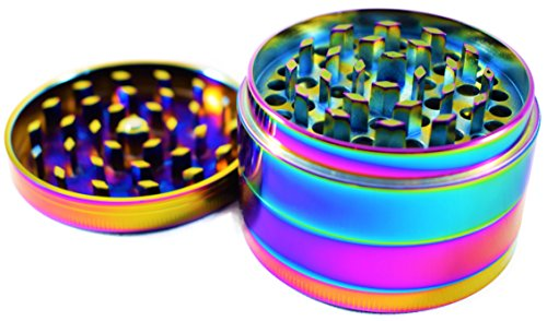 Neo Chrome Colorful Herb Tobacco Grinder - Mince Herbs and Flowers - 4 Pieces - Small, Medium, and Large (2.5 Inches - Wayfarers Knock Off