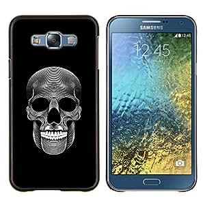EJOOY---Cubierta de la caja de protección para la piel dura ** Samsung Galaxy E7 E700 ** --Música cráneo Death Metal Oscuro Arte Negro