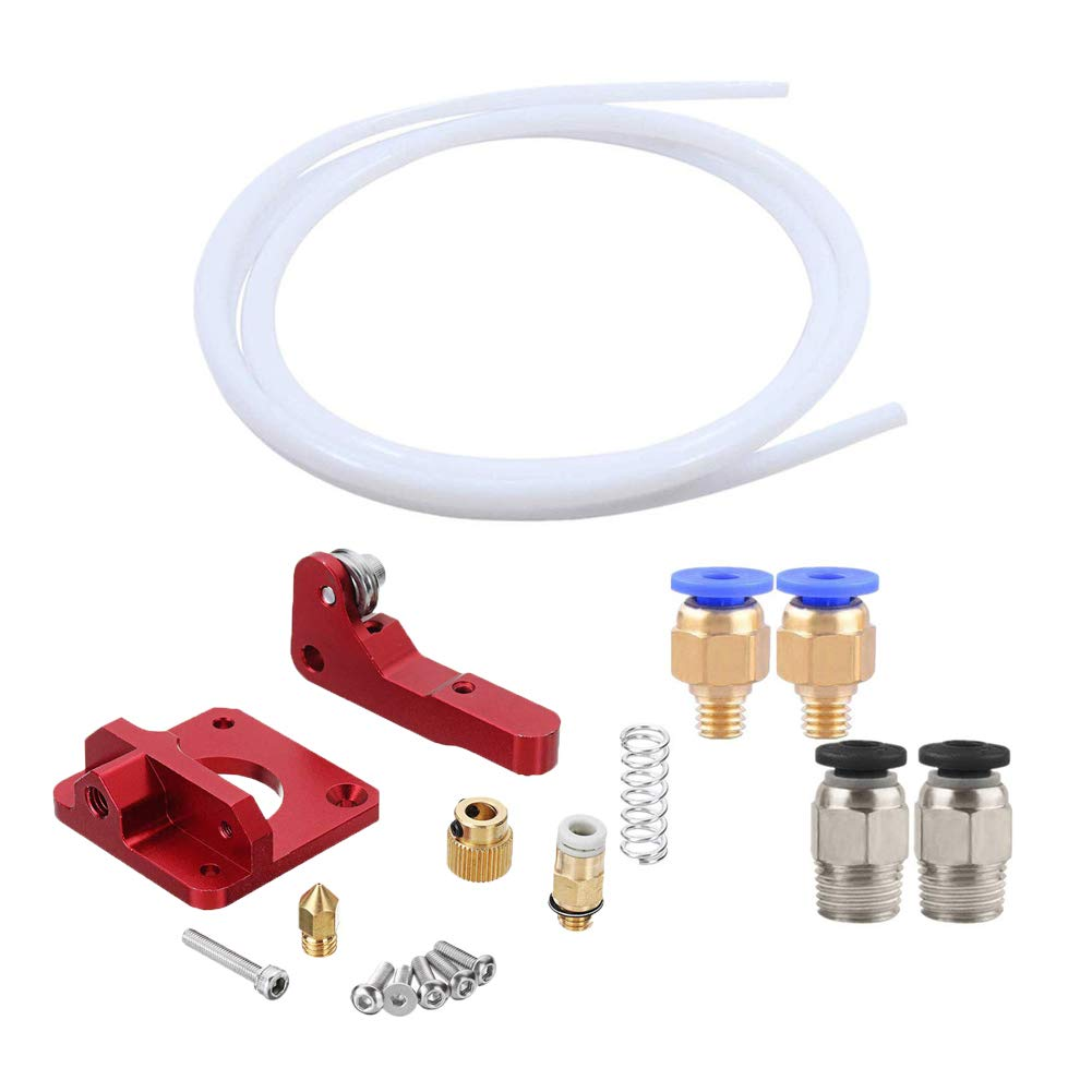 GeeWin Extruder Upgraded Replacement Kit 2pcs PC4-M6 2pcs PC4-M10 Pneumatic Connector for 3D Printer CR-10 + PTFE Tube Teflon Right Hand Aluminum Drive Feed 3D Printer Extruders 1.75 3mm