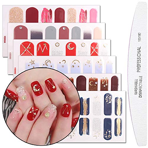 File Nail Sticker - WOKOTO 6 Pieces Glitter Nail Art Polish Sticker Strips With 1Pc Nail File Gradient Adhesive Nail Wraps Decal Tips Manicure Set For Girls