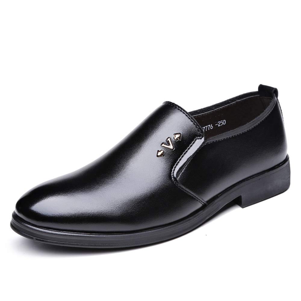 Hilotu Oxford Shoes Formal Shoes Slip On Style Microfiber Leather Comfortable Round Toe Metaldecor Comfortable Shoes (Color : Black, Size : 8.5 M US)