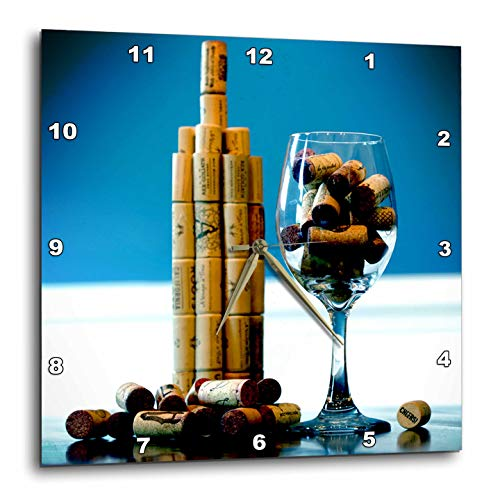 3dRose Stamp City - Abstract - Photo of Wine Corks Used as a Wine Bottle, Glass of Wine, and Grapes. - 10x10 Wall Clock (DPP_316775_1)