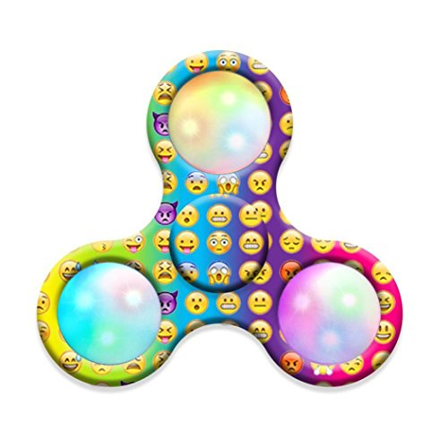 Price comparison product image MNtech NEW Design LED Light Fidget Hand Tri-Spinner Stress Relief Manipulative Play Toy (Multicolor1)
