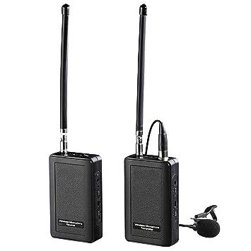 AXHTCD Inalámbrico Micrófono Lavalier 4 Canales VHF Solapa Sistema ...