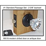 """A very affordable Fluted Crystal Glass & Oil Rubbed Bronze Complete Passage Door Knob Sets for Modern Doors+includes Our Original Wood Adapters to install in modern pre-drilled doors or replacement set for older doors (Ver 1.ORB1: Passage 2-3/8"""")"""