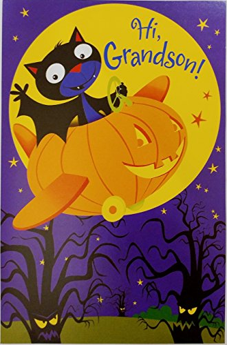 Halloween's the Perfect Time to Fly By - Happy Halloween GRANDSON Greeting Card