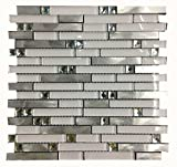 Super White Glass Aluminium Metal Strip Tiles Blends kitchen backsplash mosaic tiles,Diamond Mirror Mosaic Wall Tiles for Bathroom wall/Interior wall decoration stick,LSWG03 (11PCS 11sq.ft/pack)