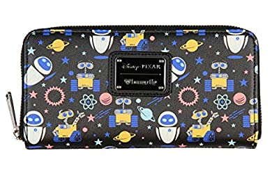 Loungefly x Disney WALL-E And EVE Allover Character Print Zip Around Wallet