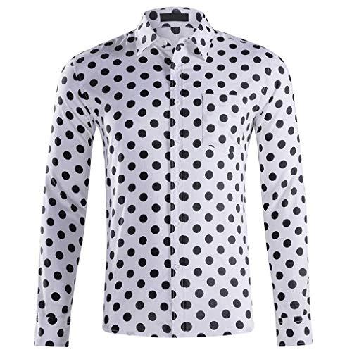 Stoota Men Dress Shirt Baggy,Hawaiian Print Beach Blouse Long Sleeve Button-Down White]()