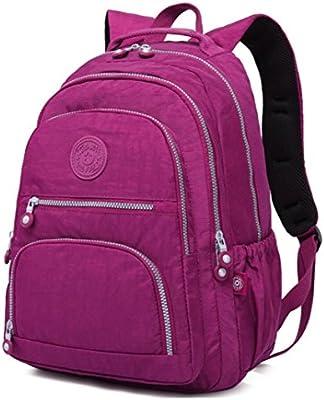 Nylon Casual Travel Daypack Lightweight Sports Laptop Backpack Purse for Women Waterproof Medium Work College School Bag for Girls (Purple)