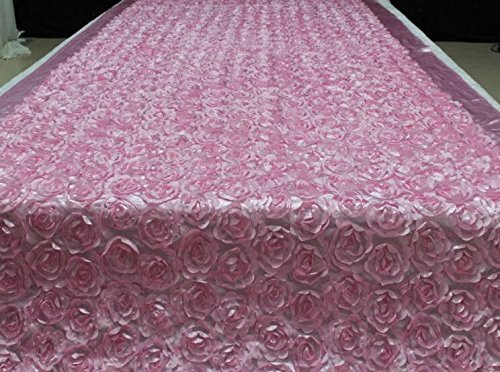 Aisle Runner For wedding, 3D Rose Flower Area Rugs, Runway Carpet, Bridal Satin Fabric, Solid Stereo Roses Floral ,Square Shaped 6.6Ft X 3.6Ft, Pink