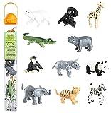Safari Ltd Zoo Babies Toy Figurine TOOB With 11 Adorable Baby Animals Including Baby Zebra, Panda, Hippo, Chimpanzee, Rhino, Alligator, Gorilla, Elephant, Tiger, Polar Bear, And Giraffe – Ages 3 And Up