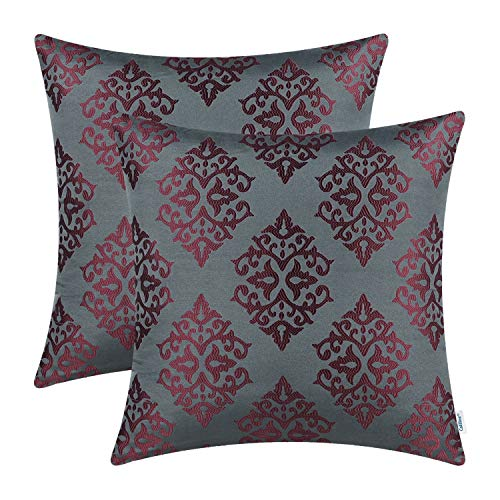 CaliTime Pack of 2 Soft Jacquard Throw Pillow Covers Cases for Couch Sofa Home Decoration Vintage Damask Floral 18 X 18 Inches -