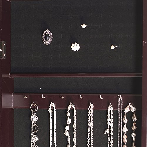 Ikee Design Wooden Jewelry Armoire with Mirror Rings Necklaces Bracelets, 16 1/2''W x 19''D x 60''H by Ikee Design (Image #4)