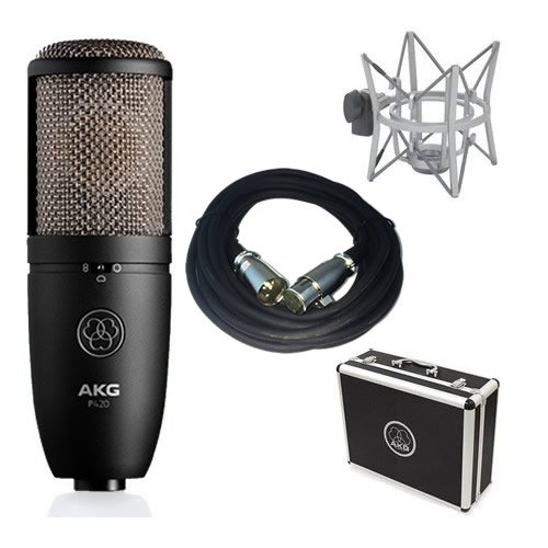 AKG P420 Large Diaphragm Studio Condenser Mic Bundle w/ FREE 20' XLR Cable