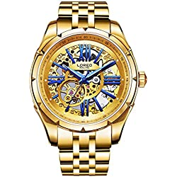 Mastop Fashion Men Skeleton Watch Automatic Mechanical Male UNique Watches Waterproof Luminous Watch Gold