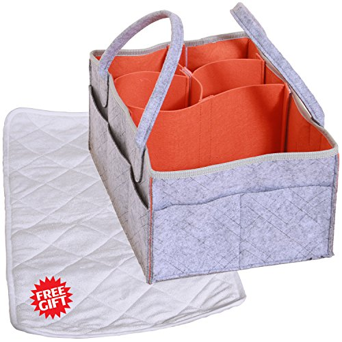 Baby Diaper Caddy Organizer-Portable&Practical - Diaper Organizer - Easy to Use - Improved Baby Basket Nursery Organizer- Multi Porpose-Newborn Registry Must Haves by Infant Concept