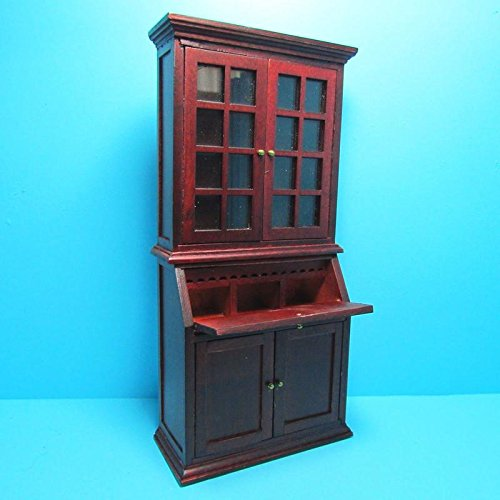 (Dollhouse Miniature Bookcase with Cabinet and Desk in Mahogany T - My Mini Fairy Garden Dollhouse Accessories for Outdoor or House Decor)