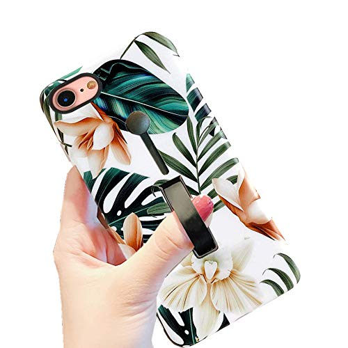 iPhone 8 Case iPhone 7 Case iPhone SE 2020 Finger Grip,3D Print Green Leaves with Flowers Design Rugged Shockproof Slim Fit D
