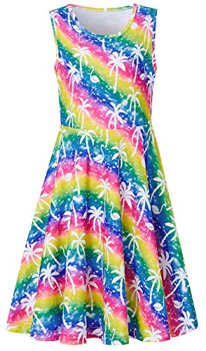 BFUSTYLE Birthday Wedding Party School Pageant Colorful Stripes Coconut Tree Flamingo Dresses for Girls, Cute Girls Sleeveless Slim Fit Casual Yellow Blue Green Red Dance Dress 6-7, M